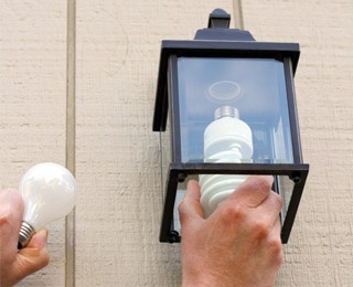 light bulb being replaced