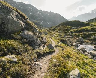 walking path along the mountains