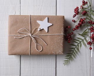 wrapped gift with a star on the package