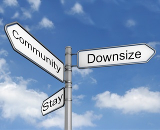 road sign with 3 directions that say stay, community, downsize