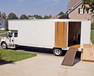 moving truck and boxes