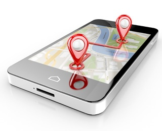 smart phone with a map