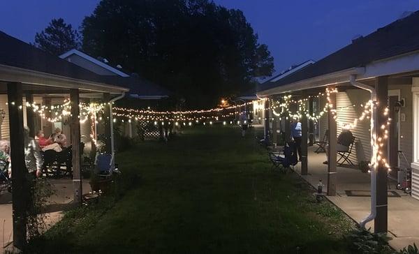 Lights illuminate a Kendal neighborhood