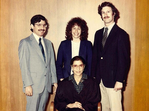 Ruth Bader Ginsburg with clerks in 1980
