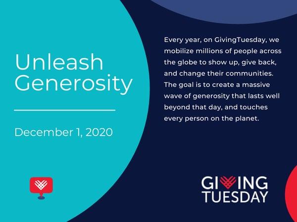 Unleash Generosity - Giving Tuesday Graphic
