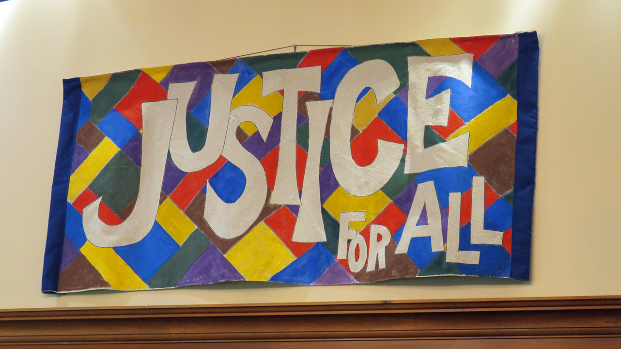 multicolor banner -Justice for All