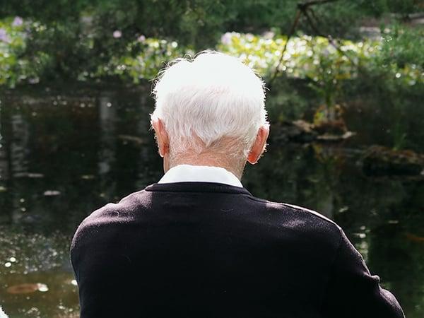 back of older man's head