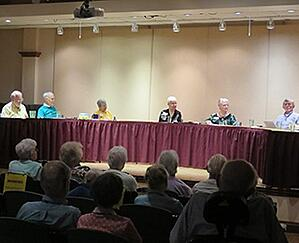 "Members of the interest group ""25 and Proud"" holding a discussion panel at Kendal at Oberlin."