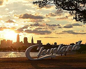 Sunset at Edgewater Park with Cleveland skyline.