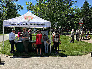 Cuyahoga Valley National Park tent and volunteers