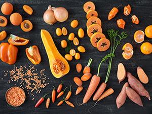Group of various orange veggies