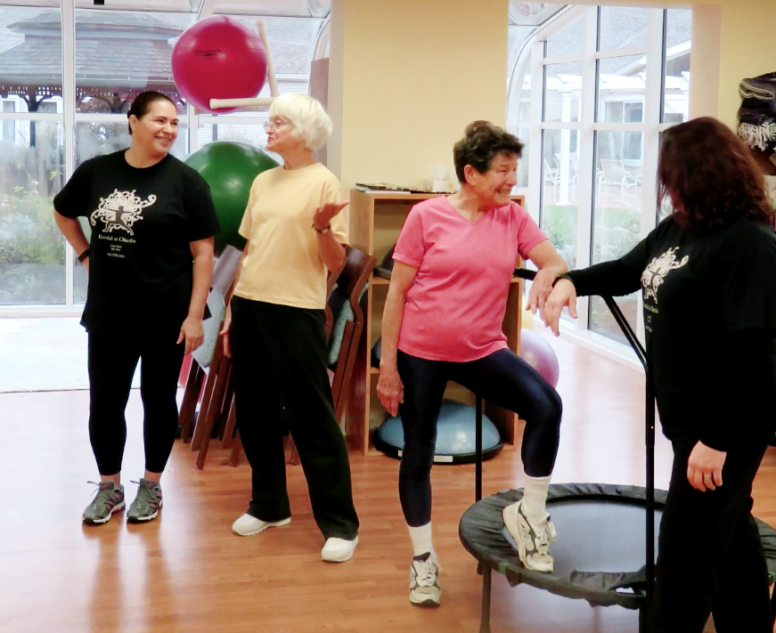 A group of ladies in an exercise class at Kendal at Oberlin.