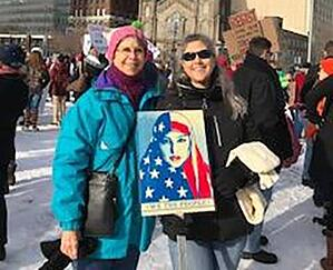 Kendal resident marches with daughter at the Women's March in Cleveland in January.