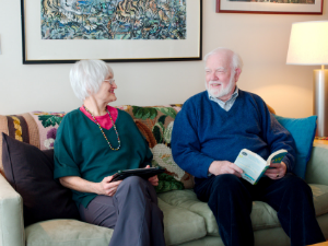 Woman reading a captivating book about older adults
