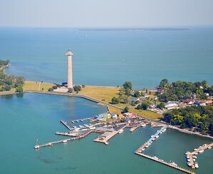 Birdseye view of South Bass Island and the boat docks and Perry's Victory Monument