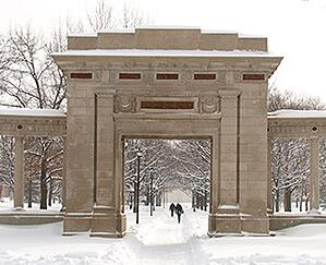 Memorial Arch in Oberlin, Ohio during the winter.