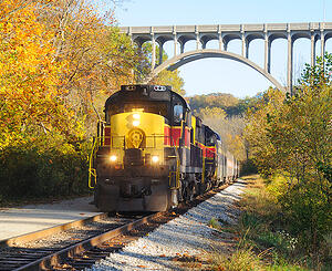 ohio train going through fall foliage